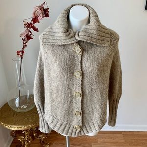Anthropologie 50% wool cape pullover sweater